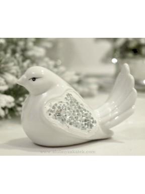 Ptaszek ceramiczny biały