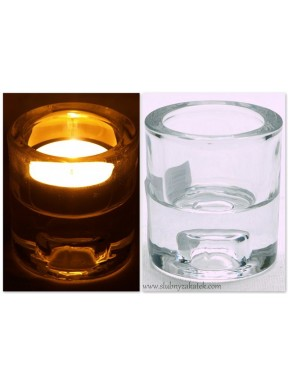 Świecznik szklany dwustronny