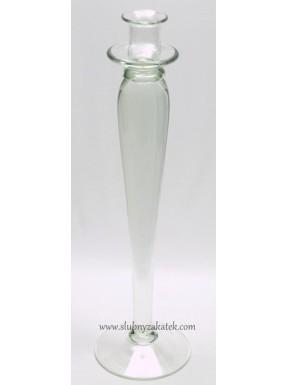 Świecznik szklany wysoki
