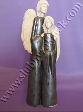Figurka para aniołów szara duża