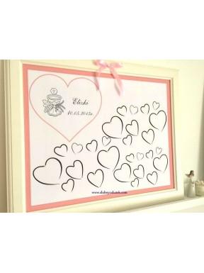 Plakat / księga gości serca, komunia dla dziewczynki