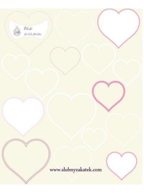 Plakat / księga gości różowy serduszka, komunia
