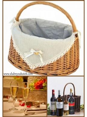 Koszyk wiklinowy na alkohol