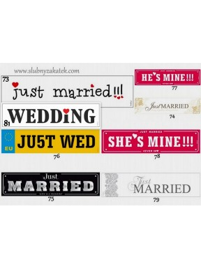 Tablice rejestracyjne Wedding English