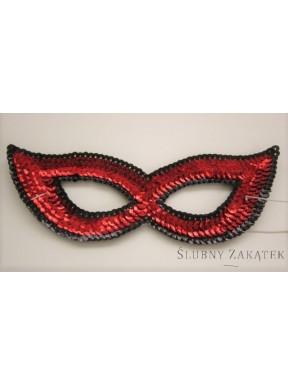 Maska cekinowa czerwona