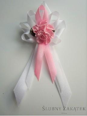 Kotyliony dla rodziców - kwiat różowy, tasiemka różowa