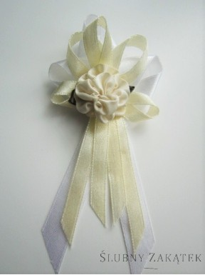 Kotyliony dla rodziców - kwiat kremowy, tasiemka kremowa