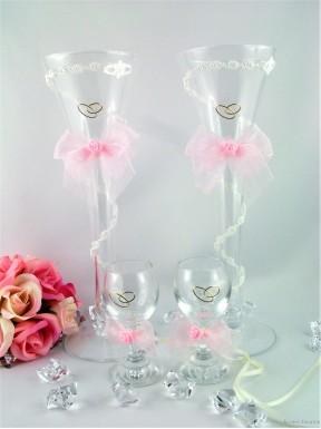 Komplet kieliszków CRISTAL różowy