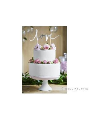 Napis na tort LOVE srebrny