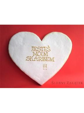 Obrazek z sentencją JESTEŚ MOIM SKARBEM, serce białe