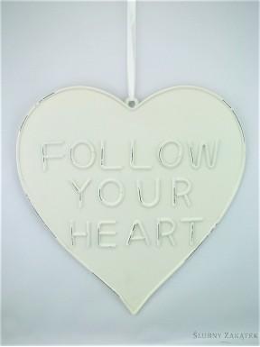 Serce metalowe białe