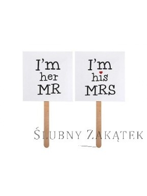 "Karteczki na patyczku ""I'm his MRS/ I'm her MR"""
