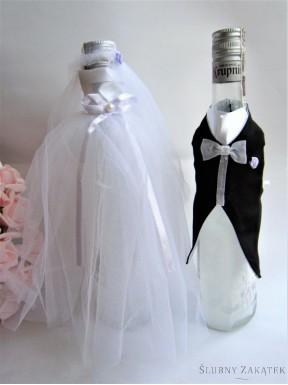 Ubranko na butelkę z różyczką morelową