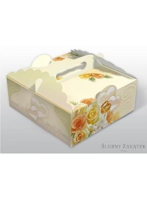 Pudełko na ciasto ROSE, kremowe