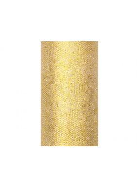 TIUL GLITTERY DO DEKORACJI 0,15 x 9m, złoty