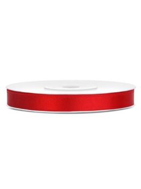 TASIEMKA SATYNOWA 6mm 25m, czerwona