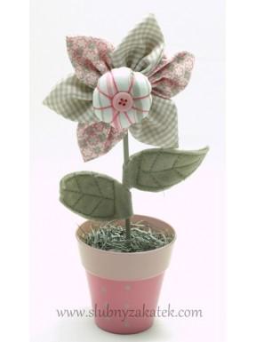 DEKORACJA Kwiatek w doniczce, materiałowy