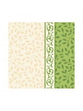SERWETKI PAPIEROWE Listki, kremowo - zielone