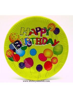 TALERZYKI PAPIEROWE Happy Birthday, 23 cm