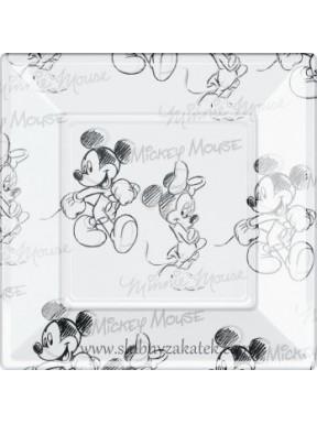 TALERZYKI PLASTIKOWE Mickey Mouse, białe