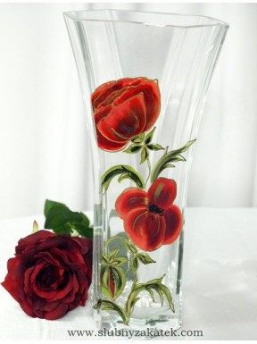 WAZON SZKLANY Kwiaty, ręcznie malowany