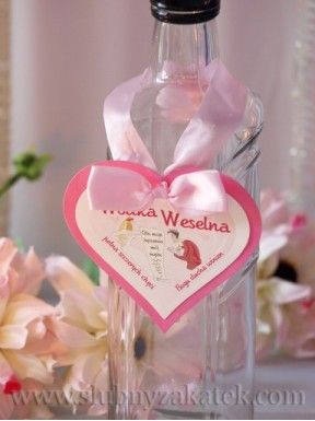 "ZAWIESZKA NA ALKOHOL ""Wódka weselna"", serce różowe"