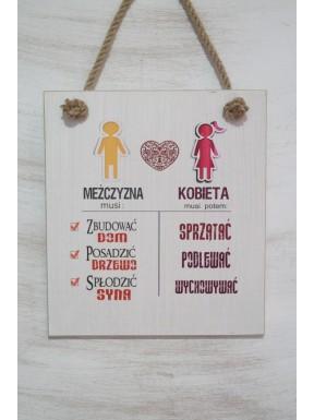 Tabliczka drewniana co powinien mężczyzna i kobieta