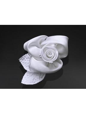 DEKORACJA NA SAMOCHÓD Różyczki satynowe, białe