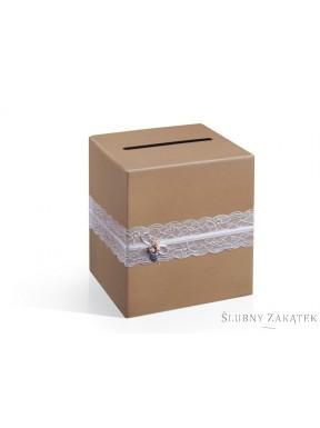 Pudełko na telegramy z koronką- brąz