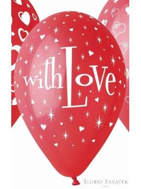 Balony WITH LOVE czerwone 5 szt