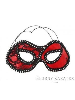 Maska z koronką DAMA czerwona