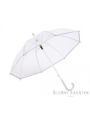 Parasol transparentny srebrny