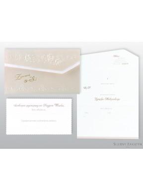 Zaproszenie na ślub perłowe kwiaty