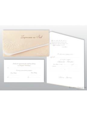 Zaproszenie na ślub perłowe róże