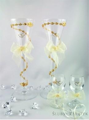 KIELISZKI ŚLUBNE Cristal, zestaw kremowy