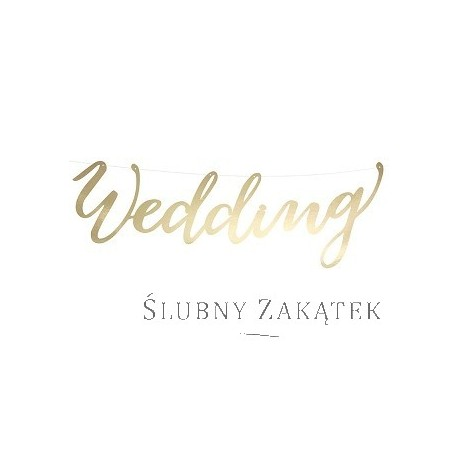 Baner WEDDING, złoty