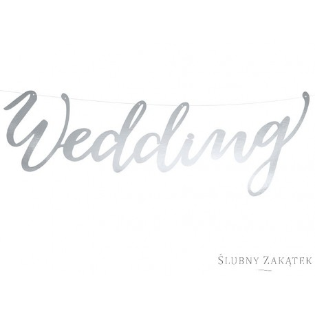 Baner WEDDING, srebrny