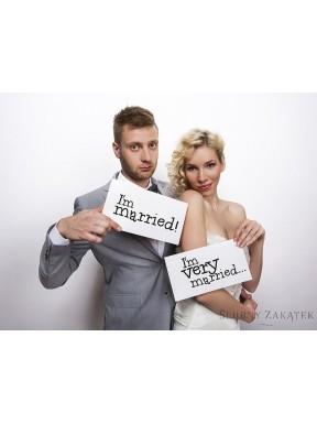 Tabliczki z napisami  I'm married/ I'm very married