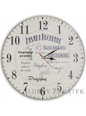 Zegar na ścianę ZASADY KUCHENNE