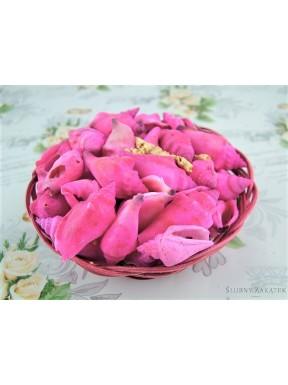 Muszelki dekoracyjne w koszyku, różowe