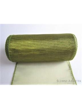 Organza obszywana z połyskiem 12 cm, oliwka