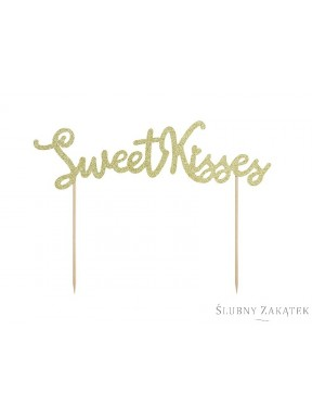 NAPIS - TOPPER NA TORT Sweet Kisses, złoty