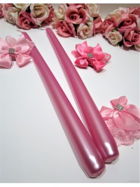 ŚWIECA STOŻEK METALIZOWANA różowa, 30 cm