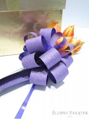 KOKARDA ŚCIĄGANA 3 cm, liliowa z brokatem
