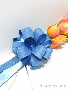 KOKARDA ŚCIĄGANA 3 cm, niebieska z brokatem
