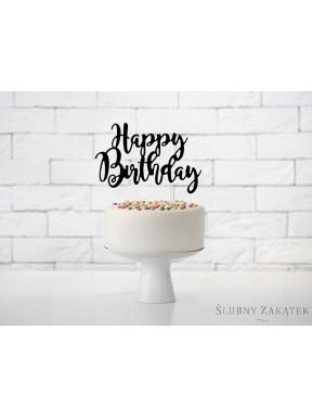 "NAPIS - TOPPER NA TORT ""Happy Birthday"", czarny"