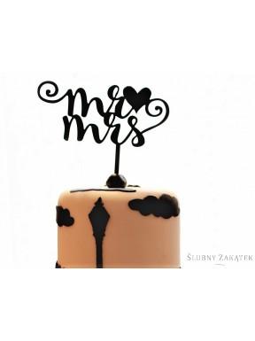 "NAPIS - TOPPER NA TORT ""Mr & Mrs"", czarny"