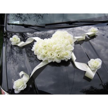 43518aa59be216 DEKORACJA NA SAMOCHÓD Serce Kwiatowe, kremowe - dekoracje na ślub i ...