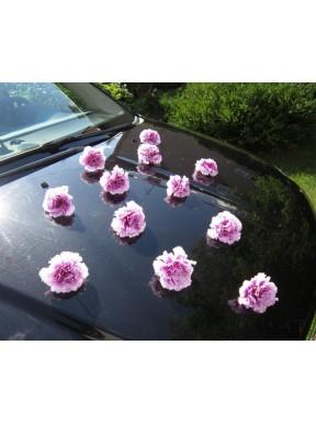 DEKORACJA NA SAMOCHÓD Goździki fioletowe, na przyssawkach