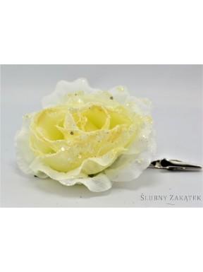 KWIAT SZTUCZNY Róże z brokatem zestaw, kremowe